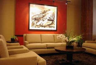 Contemporary Living Room with Carpet, Pendant light