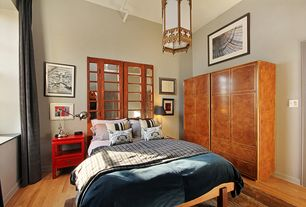 """Eclectic Master Bedroom with Pendant light, Safavieh Maeve Ball 28"""" H Table Lamp with Drum Shade (Set of 2), Hardwood floors"""