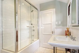 Contemporary Full Bathroom with specialty door, penny tile floors, Wainscotting, can lights, Standard height, Beadboard