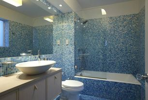 Contemporary Full Bathroom with Standard height, can lights, stone tile floors