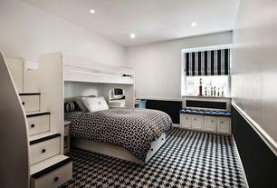Contemporary Guest Bedroom with Built-in bookshelf, Custom Bunk Bed, nuLOOM Handmade Houndstooth Black Wool Rug, Wainscotting