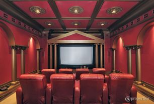 Traditional Home Theater with Crown molding, Carpet, High ceiling, Columns, Box ceiling