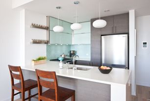 "Contemporary Kitchen with Crate & Barrel Davis 24"" Brushed Silver Wall Shelf, Glass panel, Subway Tile, Pendant light, Flush"