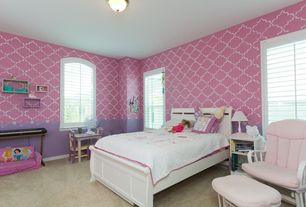 Modern Kids Bedroom with no bedroom feature, flush light, Carpet, Standard height, interior wallpaper, specialty window