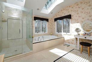 Traditional Master Bathroom with Merril Carved Round Mirror, interior wallpaper, Spritz Tabletop Mirror, frameless showerdoor