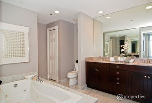 Modern 3/4 Bathroom with Simple Granite, Ms international bianco venatino marble, Double sink, Jetted, Inset cabinets