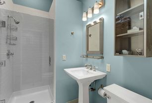 Modern Full Bathroom with Full Bath, no showerdoor, Shower, Pedestal sink, wall-mounted above mirror bathroom light