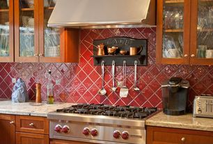 Traditional Kitchen with Large Ceramic Tile, Simple granite counters, Flat panel cabinets, Glass panel, One-wall
