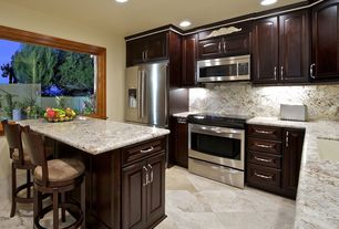 Traditional Kitchen with Wildon home kona barstool, picture window, L-shaped, built-in microwave, Undermount sink, Paint