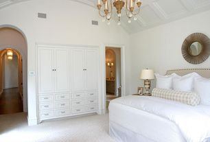 Traditional Guest Bedroom with Crown molding, Standard height, Chandelier, Built-in bookshelf, Carpet