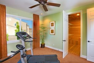 Traditional Home Gym with Carpet, Ceiling fan