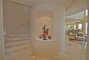 Modern Staircase with terracotta tile floors, French doors