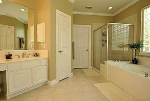 Traditional 3/4 Bathroom with terracotta tile floors, Raised panel, Undermount sink, Daltile Decora Glass Block