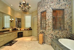 Rustic Full Bathroom with Slate/stone tile, porcelain tile floors, Undermount sink, Bathtub, drop in bathtub, specialty door