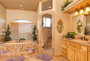 Rustic Full Bathroom with Arched window, Hunter douglas parkland reflections horizontal blinds, Limestone tile counters