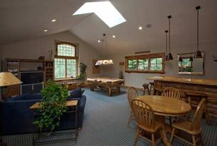 Craftsman Game Room with Pendant light, Skylight, High ceiling, Carpet