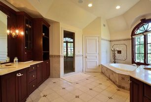 Traditional Master Bathroom with Glass panel door, Simple Granite, Powder room, Inset cabinets, Arched window, Raised panel