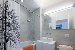 Modern Full Bathroom with curtain showerdoor, Full Bath, linen and towel storage cabinet, shower bath combo, Standard height