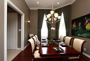 Modern Dining Room with Chandelier, Wall sconce, Laminate floors