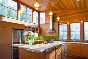 Contemporary Kitchen with High ceiling, Kitchen island, Pendant light, L-shaped, Ceramic Tile, Flush, European Cabinets