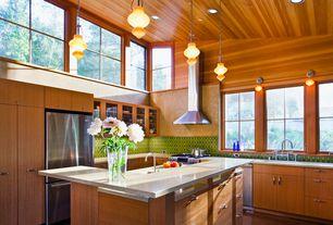 Contemporary Kitchen with Pendant light, full backsplash, can lights, Undermount sink, European Cabinets, Wall Hood, Flush
