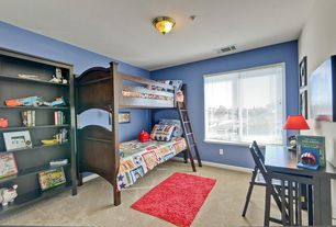 Traditional Kids Bedroom with Paint, picture window, Standard height, Built-in bookshelf, Carpet, flush light