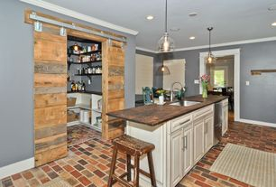 Traditional Kitchen with Eat in kitchen, Paxton glass single pendants, can lights, Walk-in pantry, Dark wood countertop