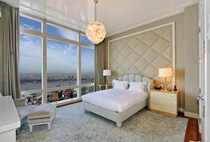 Contemporary Guest Bedroom with Chandelier, Hardwood floors, Crown molding, French doors, Lacquered ceiling
