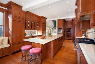 Traditional Kitchen with Exposed beam, Glass panel, Hardwood floors, Window seat, Stone Tile, Limestone counters, Flush