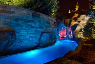 Rustic Swimming Pool with Fountain, Other Pool Type, Raised beds, exterior stone floors