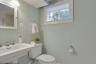 Contemporary room with American Standard Boulevard Pedestal Bathroom Sink Set, Simplex Chic 2 Light Bath Light