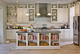 Contemporary Kitchen with Farmhouse sink, Glass panel, Pendant light, Flush, limestone tile floors, L-shaped, Kitchen island