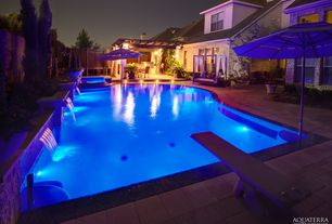 Modern Swimming Pool with Market Umbrella, Zero Edge Pool, Hyde Park Daybed with Cushions