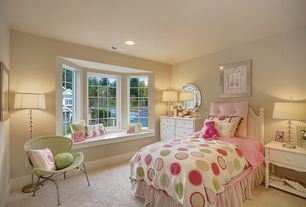 Traditional Kids Bedroom with Bay window, Window seat, Carpet, can lights, no bedroom feature, Paint1, Standard height
