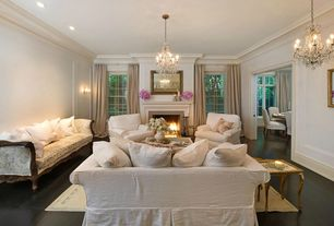 Traditional Living Room with Chandelier, Hardwood floors, Restoration Hardware Belgian Textured Linen Drapery, Wall sconce