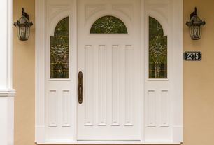 Traditional Front Door with Pathway, six panel door, Stained glass window, exterior brick floors