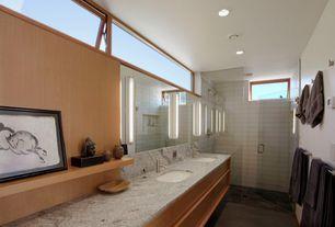 Modern Master Bathroom with Pental calacatta capraia polished marble, Undermount sink, Double sink, frameless showerdoor