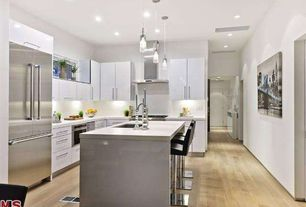 Contemporary Kitchen with Kitchen island, L-shaped, Hardwood floors, Et2 Cylindrical Frosted Glass Pendant Chandelier, Flush