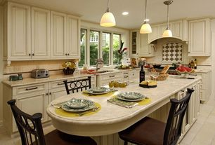 Traditional Kitchen with Subway Tile, Merola tile metro soho subway glossy white porcelain floor and wall tile, L-shaped