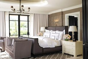 Contemporary Master Bedroom with sandstone tile floors, Chandelier, Standard height, Casement, Wall sconce, Paint 1, Paint 2