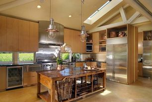 Contemporary Kitchen with two dishwashers, electric cooktop, Cathedral ceiling, Built In Refrigerator, Kitchen island, Flush