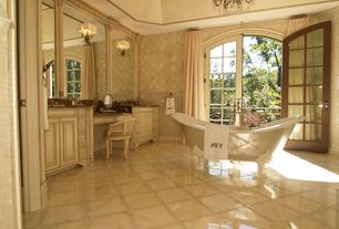 Traditional Master Bathroom with Crown molding, interior wallpaper, French doors, Balcony, Chandelier, Cathedral ceiling
