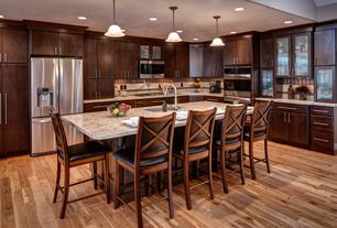 Modern Kitchen with L-shaped, Bruce hardwood by armstrong c0610 american treasures strip hickory country natural, Glass panel