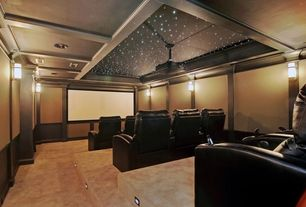 Modern Home Theater with Optoma hd30b 3d home theater projector, Carpet, Wall sconce, can lights, Single-light sconce