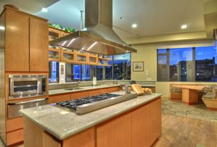 Contemporary Kitchen with Undermount sink, picture window, can lights, dishwasher, Island Hood, Glass panel, Flush, Paint 1