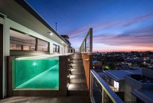 Contemporary Swimming Pool with Lap pool, Infinity pool, Concrete floors, Pathway, Narrow pool, Glass panel lap pool
