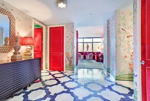 Contemporary Entryway with six panel door, flush light, Chinisorie wallpaper, simple marble floors, interior wallpaper, Paint