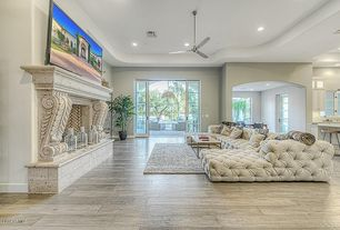 Eclectic Living Room with Omega Mantels 1106.11.538, Hardwood floors, stone fireplace, Ceiling fan