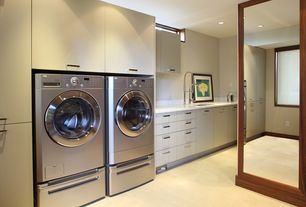 Contemporary Laundry Room with Pental quartz super white bq200, Built-in bookshelf, Flat panel cabinets, Undermount sink