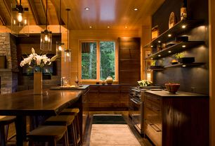 Contemporary Kitchen with European Cabinets, Kitchen island, Pendant light, Exposed beam, Undermount sink, L-shaped, Casement